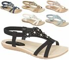WOMENS LADIES FLAT LOW HEEL T-BAR DIAMANTE DAISY FLOWER OPENTOE SUMMER SANDALS