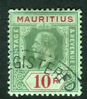 MAURITUS-1913 10r Green Red & Green (Blue Green back) DIE I  fine used Sg 204