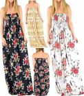 Women Sheering Gather Floral Print Long Dress Ladies Bandeau Boobtube Maxi Dres