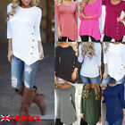 Womens Loose Long Sleeve Irregular Ladies Casual Buttoned Tops T-Shirt Blouse