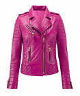 Women's Leather Jacket Pink Soft Genuine Lambskin Biker Bomber Coat Size M # 370