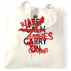 Halloween Tote Bag Keep Calm & Run, Zombies Are Coming Parody English Scary