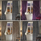 Pair Designer Waves Luxury Heavy Crushed Velvet Eyelet Ring Top Lined Curtains