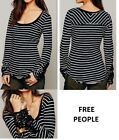 FREE PROPLE Hard Candy Black & Off-White Stripe Crochet Cuff Knit Top - Small