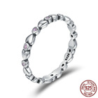 925 Sterling Silver Heart Stackable Clear CZ Female Finger Rings with Pouch