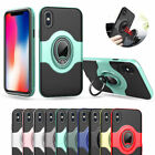 Leather Magnetic Car Holder Ring Stand Hybrid Phone Case Cover For iPhone X AT