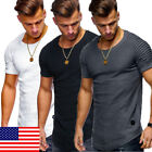 US STOCK Men's Slim Fit O Neck Short Sleeve Muscle...