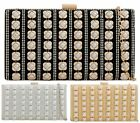 LADIES DIAMANTE HARDCASE GOLD STUDS PEARLS EVENING PURSE BRIDAL PROM CLUTCH BAG