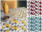 PVC TABLE CLOTH CUBE 3D EFFECT SQUARE RETRO DECORATIVE BLOCKS WIPEABLE PROTECTOR