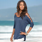 Damen Cold Shoulder T-Shirt Cut Out Tops Kurzarm Sommer Freizeit T-Shirts Blusen