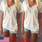 US Stock Women lace Vest Top short Sleeve Cotton Blouse Casual Top T-Shirt S-2XL