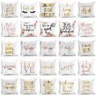 Gold Print Letter Polyester Pillow Case Sofa Car Waist Cushion Cover Home Decor  image