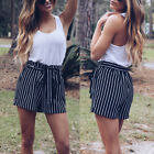 Summer Women High Waist Casual Striped Pants Beach Bow Tie Belt Shorts Trousers