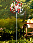 Wind Spinners Outdoor Solar Yard Spiral Garden Stake Tall 4 FT Patriotic Bronze
