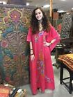 BOHO RESORT WEAR KIMONO CAFTAN HAND EMBROIDERED EVENING MAXI DRESS ONE SIZE