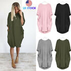 Plus Size Womens Loose Blouse Lady Round Neck Top Casual Pocket T Shirt Dress US