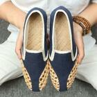 Men's Slip On Loafers Breath Woven Chinese Oxfords Summer Creepers Retro Shoes