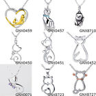 925 Sterling Silver 18K Yellow Gold Plate CZ Pave Heart Cat Pendants Necklaces