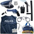 Pretend Play Police Costume For Kids With Toy Role Kit and Bag Included 12 Pcs