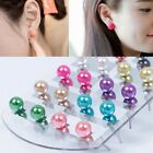12 Pairs/Set Women Milti-Color Fashion Party Beauty Pearl Round Ear Stud Earring
