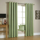 Pair Of New Eyelet Grommet Linden Green Curtains With Floral Twig Allover Design