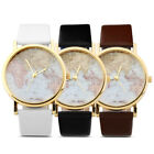 Fashion Women Girl Lady Classic Geneva Leatheroid Analog Quartz Wrist Watch Map