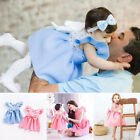 Casual Girls Princess Cotton Dress Kid Baby Party Wedding Lace Bow Short Sleeve