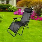 Black Textoline Zero Gravity Chair Garden Pool Reclining Folding Sun Lounger