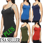 PLUS-REGULAR Women Basic Long Tank Top LACE-TRIM Camisole Layering Bozzolo USA
