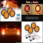 """4pc 4"""" Round AMBER LED Tailer Tail Lights -Park Turn Tail Lights For RV and more"""