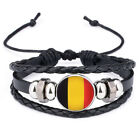 2018 World Cup Football Handmade Leather Flag Bracelet Braided Bangle Unisex