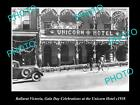 OLD LARGE HISTORICAL PHOTO OF BALLARAT VICTORIA, VIEW OF THE UNICORN HOTEL c1938