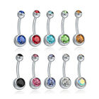 1Pcs Surgical Steel Crystal Rhinestone Belly Button Navel Bar Ring Body Piercing