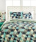 Reversible Comforter Set Triangles or Stripes Grey, Cream, Teal