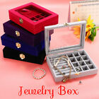 Jewelry Velvet Wood Ring Display Organizer Box Tray Holder Earring Storage Case