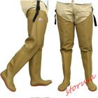 Mens Thigh High Waterproof Raining Boots Pull On wader Fishing Boots