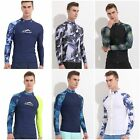 Mens Rash Guard Long Sleeve Shirts Surfing Swimwear Lycra UV
