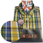 Warrior UK England Button Down Shirt STRUMMER Slim-Fit Skinhead Mod Retro