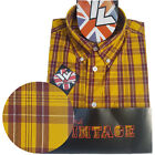 Warrior UK England Button Down Shirt VANIAN Slim-Fit Skinhead Mod Retro