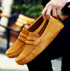 Hot Mens Minimalism Driving Loafers Suede Leather Slip on penny shoes