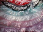 White Lace over Gathered Organza Ribbon-choose Pink, White, Black, Hot Pink,Blue