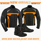 Motorbike Motorcycle Touring Jacket Shoes Waterproof Racing Boots Armoured Black