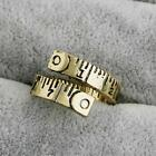 New Fashion Creative Measure Ruler Twisted Open Ring For Women Men Jewelry