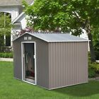 Steel Outdoor Storage Shed Garden Backyard Toolshed w/ Floor Foundation Frame