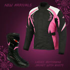 Ladies Womens Motorbike Motorcycle Textile Jacket Leather Boots Shoes Waterproof