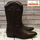 MENS BROWN LEATHER WESTERN COWBOY BOOTS GRINGOS CALF LENGTH SHOES SIZE uk 11