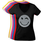eSPee Damen T-Shirt mit Strass Applikation Motiv Smiley Baumwolle Glitzer