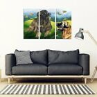 Leonberger With Butterfly Print-5 Piece Framed Canvas- Free Shipping