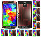 For Samsung Galaxy Mega 2 KoolKase Hybrid Silicone Cover Case - Wood Grain Red