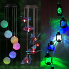 Solar Power Wind Chime Light LED Garden Hanging Spinner Lamp Color Changing NEW